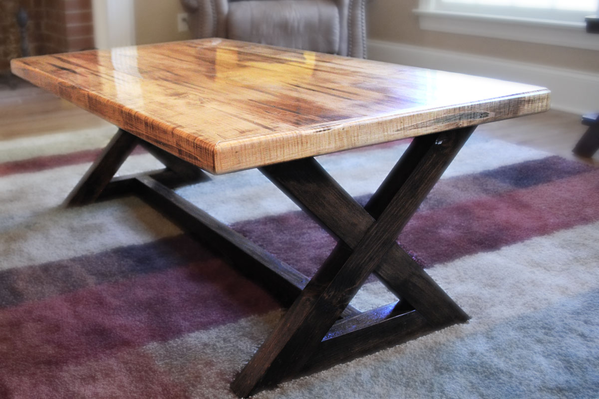 Coffee Table In Solid Wormy Maple With A Golden Oak Stain And A Rustic Base  Stained In Espresso.